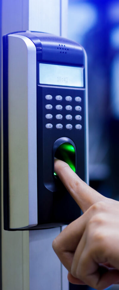 Staff push down electronic control machine with finger scan to access the door of control room or data center.